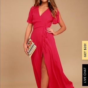 Lulu's red wrap maxi dress - worn once!